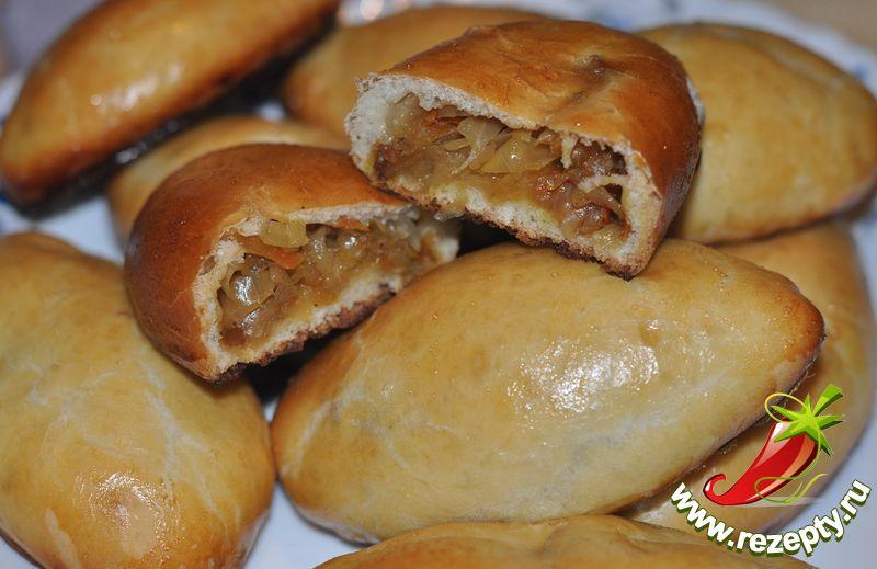 Постные пирожки с капустой в духовке пошаговый