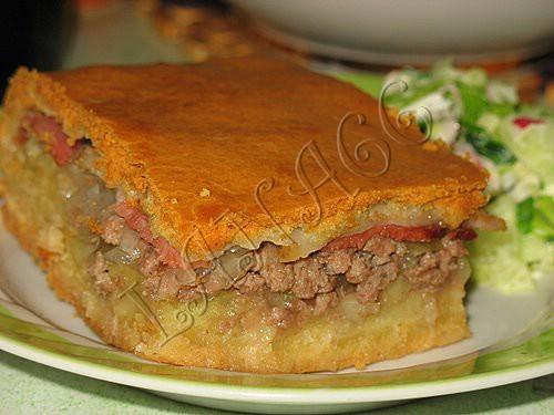 пирог с картошкой и фаршем рецепт