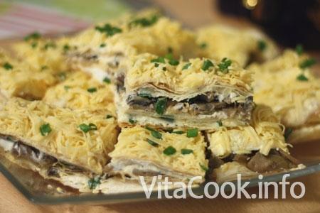 Рецепт пирог с грибами и сыром